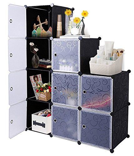 DIY Cube Organizer, Carttiya Modular Shelving Storage Organizer, Closet Wardrobe with Magnetic Doors, Modular Closet System Cube Organizer with Hanging Rods for Clothes, Shoes and Toys, 12 Cubes (Modular Shelving System)