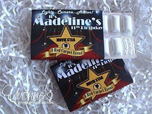 Hollywood VIP Red Carpet Gum Wrappers Personalized Party Favors - Sweet Sixteen, Birthday and Bar or Bat Mitzvah (Set of 12) Gum Not Included]()