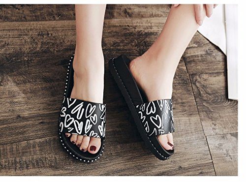 abajo Dick XIAOGEGE versión moda coreana Negro zapatillas damas zapatillas zapatillas la verano La flacher suelo zvqxzH1