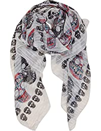 Humble Chic Sugar Skull Scarf - Long Oversized Lightweight Printed Shawl Wrap
