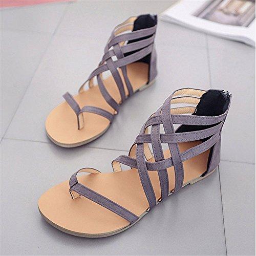 ShangYi L'Europe et l'Amérique clip toe plates sangles croisées arrière à glissière romaine femmes sandales, gris, EU41 / UK7.5-8 / CN42