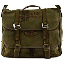 Canvas Military Bags Vintage Style Army Cross Shoulder Messenger Bag Classic Distressed Canvas in Green Travell Well Bags