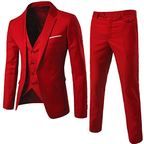Fashionmy Men Suits 3 Pieces Wedding Suit Slim Fit Casual Business Prom Bridegroom Groomsman Red L by Fashionmy