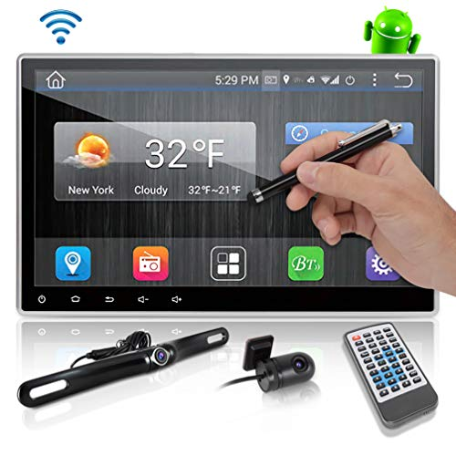 Android Stereo Receiver Double Din - DVR Car Dash Cam System with Backup Camera, 10' Touchscreen LCD, WiFi, Bluetooth Wireless, DVD Player, GPS Navigation, USB Slot and AM FM Radio - Pyle PLDAND110