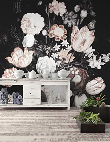 (Murwall Dark Floral Wallpaper Dutch Flower Wall Mural Hydrangea Florals Wall Print Tulip Blossom Wall Art European Home Decor)
