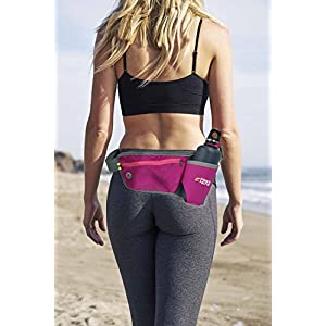 "Fitters Niche Hydration Belt Water Botter Holder Carrier, Lightweight Hydration Waist Pack Size 25""-41"" with Holder, Roomy Zip Pouch for iPhone & Essentials, Comfortable Ideal for Runners and Hikers"