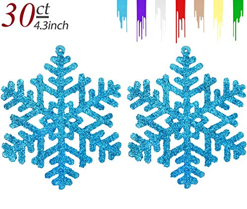 AMS 4.3''/30ct Plastic Christmas Sparkling Glitter Snowflake Ornaments Christmas Tree Decorations (11cm, Light Blue)