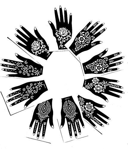 Henna Stencil Tattoo (10 Sheets) Self-Adhesive Beautiful Body Art Designs - Temporary Tattoo Templates (Indian Henna)
