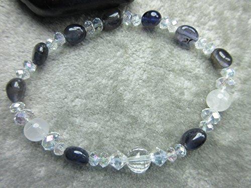 Iolite Moonstone Bracelet (Genuine Quartz, Rainbow Moonstone and Iolite Healing Bracelet)