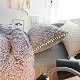 Faux Fur Duvet Cover Faux Fur Shaggy Duvet Cover Grey Queen / Full 3 Pcs Set ( 1 Comforter Cover, 2 Pillow Shams ) Zipper Closure Super Soft Velvet Flannel Fleece Mink Reversible Warm Fluffy Quilt Case Solid Fuzzy Bedding