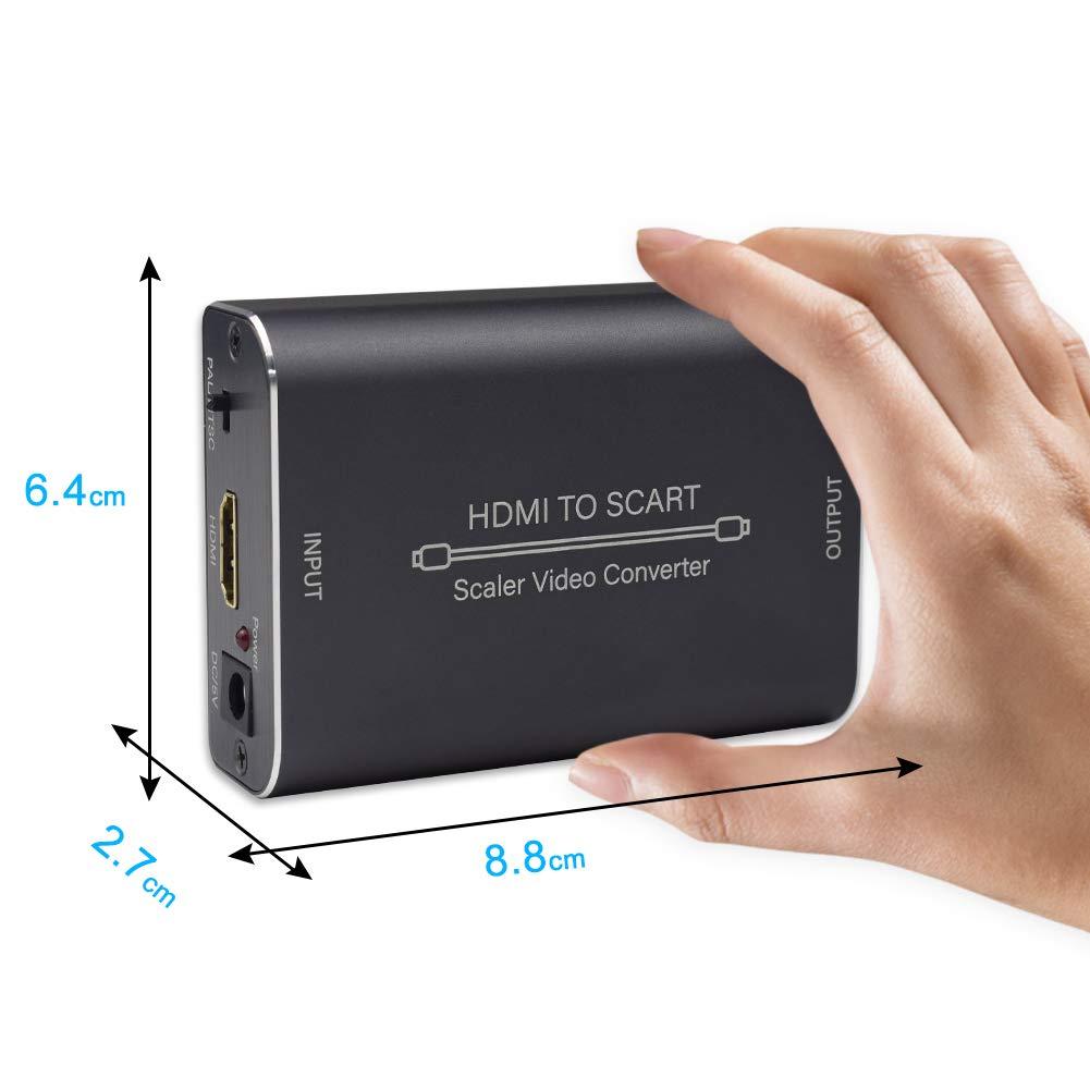 Ozvavzk HDMI a SCART Convertidor con Scaler Funci/ón de HDMI to Euroconector Adaptador Compuesto Video HD Est/éreo Audio Conversi/ón per Sky HD BLU-Ray Lettore HDTV STB VHS Xbox PS4 etc.