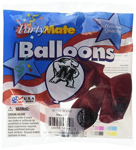 Pioneer Balloon Company 10 Count University of Maryland Latex Balloon, 11
