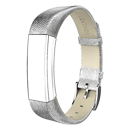 Fitbit Alta HR and Alta Bands Leather, Swees Genuine Leather Band With (Silver Buckle)