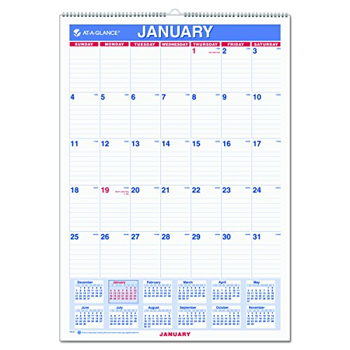 "AT-A-GLANCE Wall Calendar 2017, Monthly, 12 x 17"", Ruled, Wirebound (PM2-28)"