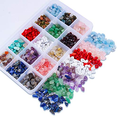 Colle Chip Beads Gemstone Bead Assortment Crystal Energy Stone Healing Pieces Irregular Crushed Chunked Stone Beads Box Set