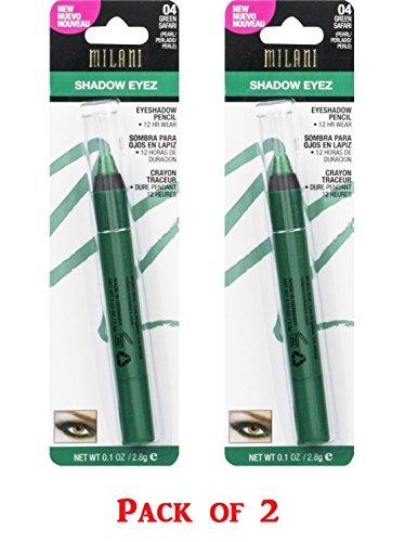 Milani Shadow Eyez Eyeshadow Pencil, 04 Green Safari - 2 Pack