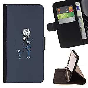 KingStore / Leather Etui en cuir / Samsung Galaxy S4 Mini i9190 / Globo Amigos