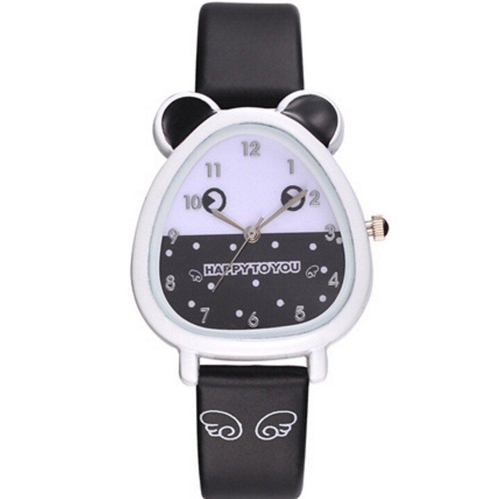 AGUIguo Watches for Kids Lovely Animal Design Boy Girl Children Quartz Watch Kid's Birthday Gift (Black)