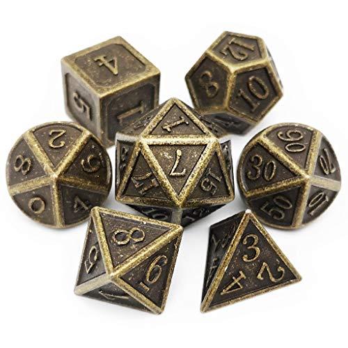 (Haxtec 7 Die Metal Dice Set D&D 7PCS DND Dice of D20 D12 D10 D8 D6 D4 for Dungeons and Dragons RPG Games-Glossy Enamel Dice (Antique Bronze))