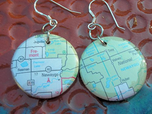 One Inch Button International or United States Location Custom City or Town Atlas Map Earrings