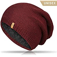 TRENDOUX Beanie Hat Warm Thick Lining Soft Acrylic Outside - Winter Slouchy Knit Beanies Men Women