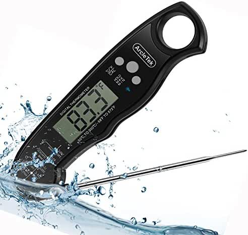 ArcleTek Waterproof Meat Thermometer Accurate Ultra Fast Read Easy to Use for BBQ Grill Meat Milk Cooking With Long Probe