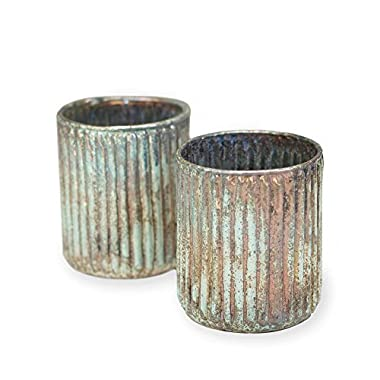 Mercury Glass Candle Holders, Patina Vases, 3.25 inch, Shabby, Ribbed, Verdigris, Seafoam, (Mint & Copper), (6 Pack)