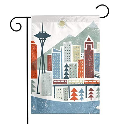 Kjaoi Colourful Seattle Festival Garden Flag Front Door Flag Decorative Home Outdoor Flag 1218 Inch]()