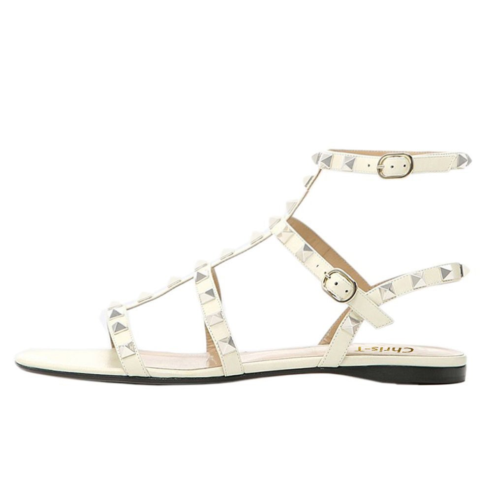 Chris-T Womens Mules Flats Rivets Slides Rockstud Strappy Studded Gladiator Sandals Backless Dress Slippers 5-14 US B07DH4JFP4 8 M US|White/Leather/Gold Studs