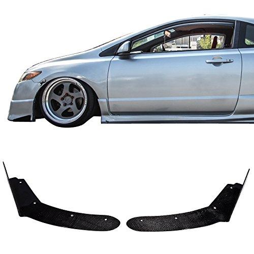 Winglet Splitters Universal Fitment | Winglet Style CF Splitter Spoiler Valance Chin Diffuser Body kit by IKON (05 Toyota Mr2 Carbon Fiber)