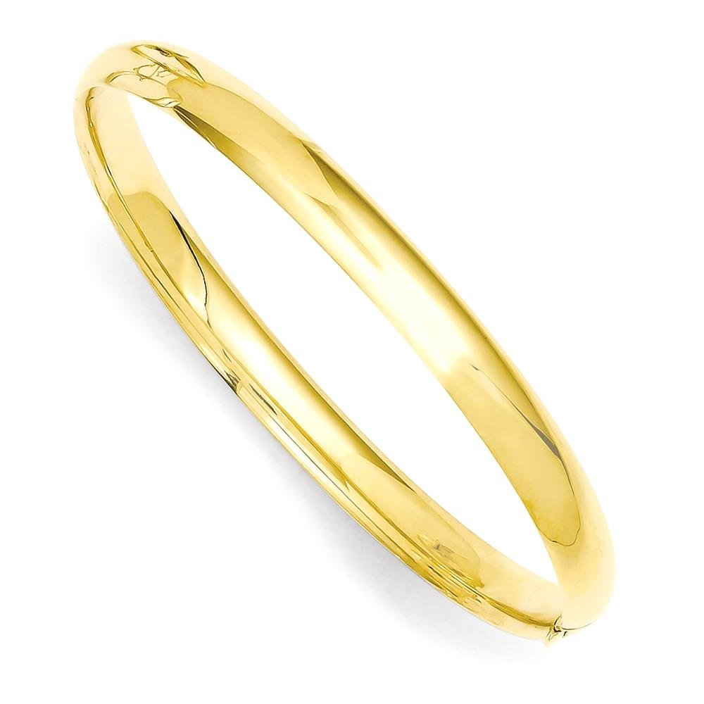 ICE CARATS 14k Yellow Gold 4.75mm Hinged Baby Bangle Bracelet Cuff Expandable Stackable 6 Inch Fine Jewelry Gift Set For Women Heart