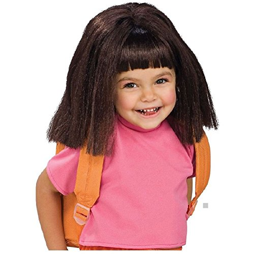 [Dora the Explorer Costume Wig Kids or Toddler Fancy Dress Up Halloween Accessory] (Dora Costume For Adults)