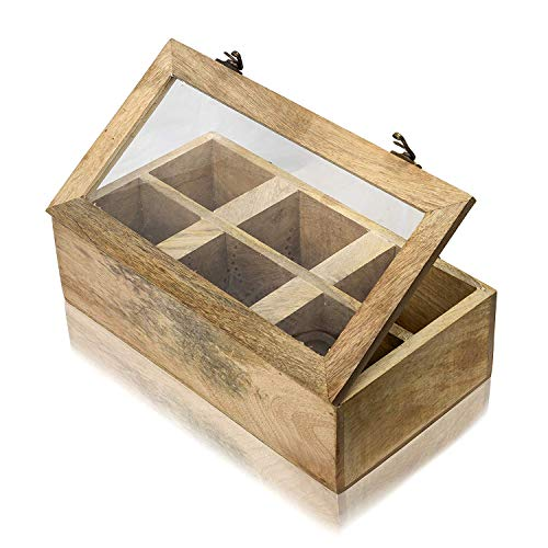 Wooden Tea Box Storage Chest Organizer Container Holder Rack With 6 Storage Compartments For Assorted Variety Of Tea Bags Loose Tea Spices & Herbs Natural Eco Friendly Vintage Rustic Decorative Box