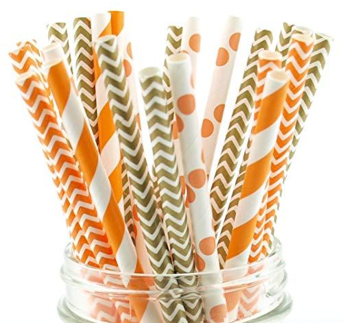 Thanksgiving Straws, Orange & Brown Celebration Straws, Paper Drinking Straws (25 Pack) - Autumn Fall Harvest Thanksgiving Dinner Straws ()
