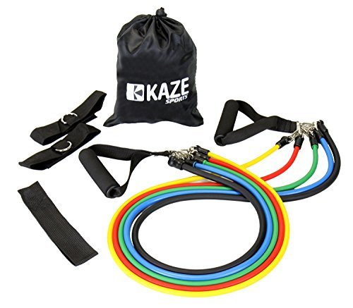 Kaze Sports Fitness Resistance Band Set with Door Anchor, Ankle Strap, Exercise Chart, and Carrying Case by KAZE SPORTS