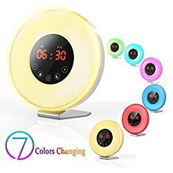Valoin 2018 Upgraded Sunrise Digital Alarm Clock,6 Nature Sounds and FM Radio,7 Colors Night Light for Bedroom and Reading,Smart Snooze Function for Heavy Sleepers (White-A)