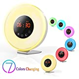 Wake Up Light Alarm Clock,Valoin Digital LED Alarm Clock with 7 Colors Night Light Sunrise and Sunset Simulation, 6 Natural Sounds and FM Radio for Adults and Kids