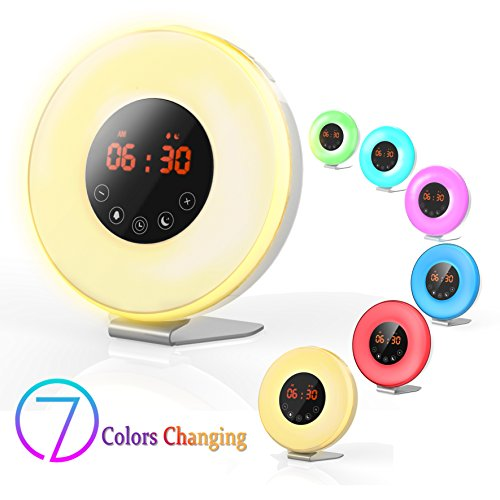 Wake Up Light Alarm Clock,Valoin Digital LED Alarm Clock with 7 Colors Night Light Sunrise and Sunset Simulation, 6 Natural Sounds and FM Radio for Adults and Kids by valoin