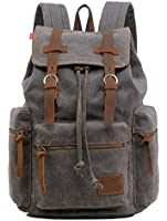 Gray Canvas & Leather Travel Laptop Rucksack School Backpack Military - Serbags