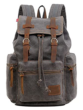 9b9085edf8b79c Amazon.com: Gray Canvas & Leather Travel Laptop Rucksack School Backpack  Military - Serbags: Clothing