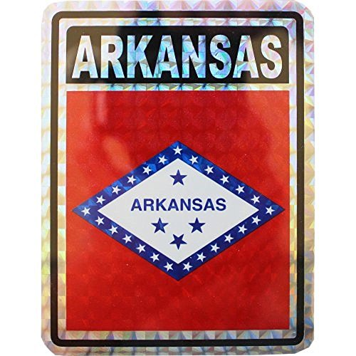 ALBATROS (6 Pack) State of Arkansas Flag Reflective Decal Bumper Sticker for Home and Parades, Official Party, All Weather Indoors Outdoors ()