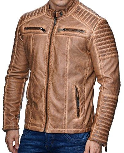Redbridge Giacca Da Uomo, Stile Biker, In Pelle Vera E Cotone Con Elementi Trapuntati Marrone Chiaro