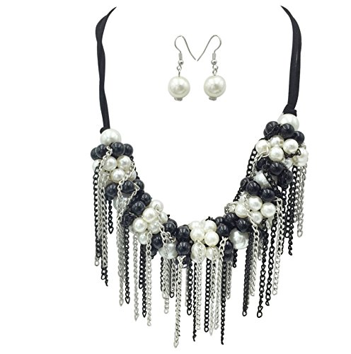 Crazy Chain Fringe Tassel on Simulated Pearl Necklace & Earrings Set
