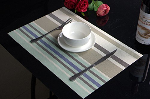 PAUWER Kitchen Table Placemats Set of 6 Washable Woven Vinyl Placemats for Dining Table Non-slip Heat Resistant Stain Resistant Table Mats Wipe Clean(6, Light (Light Blue Placemat)