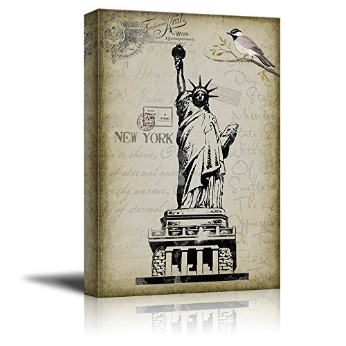 Statue of Liberty Placed onto a Vintage Style Background
