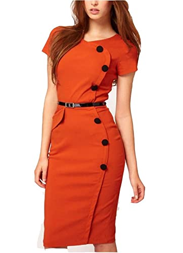 WIIPU Formal button Pencil Vintage Pinup Bodycon Fitted Party Dress(WP-52)