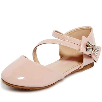 84df14309dff shoewhatever Girl s Fabulous Rhinestone Bow Strappy Flat Low Heel Close Toe  Dress Sandals