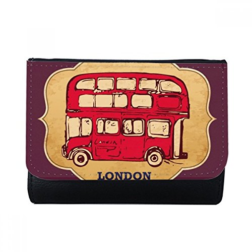UK London Red Double-decker Bus Stamp Multi-Function Faux Leather Wallet Card Purse Gift