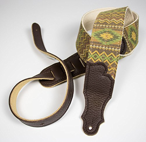 """Franklin Strap - 2"""" Old Aztec - Guitar Strap - Olive with Ch"""