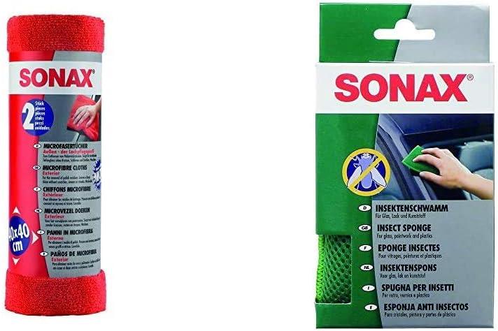 Sonax Microfasertücher Außen Der Lackpflegeprofi 2 Stück Hochwertig Und Flauschig Insektenschwamm 1 Stück Zur Entfernung Von Insekten Und Anderen Hart Anhaftenden Verschmutzungen Auto